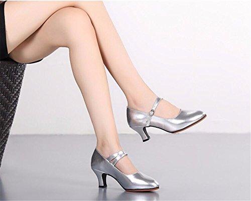 SQIAO-X- Scarpe da ballo PU Suola in gomma a bassa cattura testa rotonda, Adulti Square Dance danza moderna fondo morbido Professional scarpe da ballo, oro (5,5 cm),38