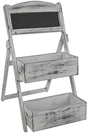Estantería shabby chic Look – Blancas macetas con 2 estantes y pizarra – Flores Escaleras Banco Escalera: Amazon.es: Hogar