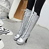 Women Knee Boots Vintage Square High Heel Lace Up