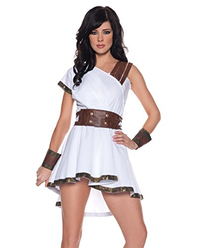 Womens Roman Warrior Costume Sexy White Grecian Dress Sizes: X-Large