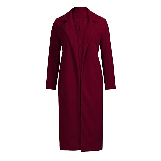 Xmiral Abrigo Cruzado de Mujer Chaqueta Moda Suelto Invierno Calentar Color Sólido Lana Outwear Rompevientos Cárdigan