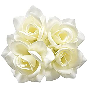 6pc Fake (Artificial) Flowers Set, 5-Stem Cream Velvety Roses, 14 in. 53