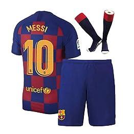 CINDOU Survêtements de Football Maillot pour garçons T-Shirt 2020 Away Barcelona Numéro 10 Messi - pour Enfants T-Shirt et Pantalon et Chaussette Jaune