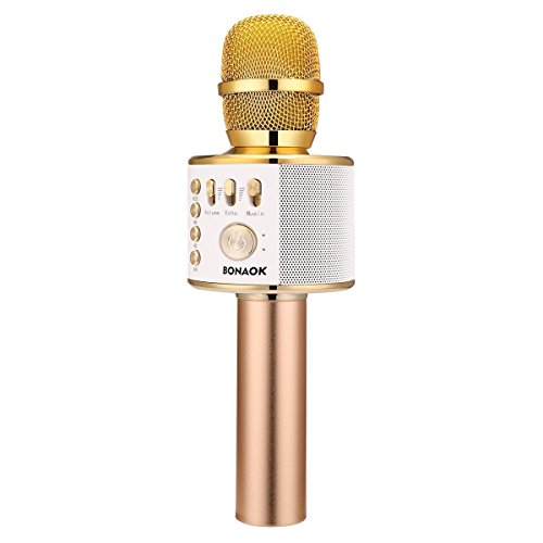 BONAOK Wireless Bluetooth Karaoke Microphone, Easter Gift 3-in-1 Portable Hand microphone Speaker Machine for iPhone/Android/iPad/Sony/PC or All Smartphone(Gold)