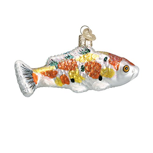 Spotted Koi Fish Glass Blown Hanging Christmas Ornament (Koi Of The World)