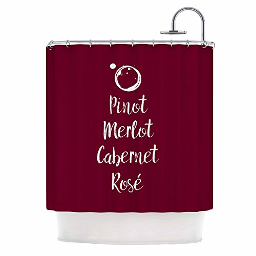 KESS InHouse Original Pinot, Merlot, Cabernet, Rosã­Â White Red Shower Curtain, 69