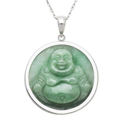 Genuine Pendant Carved Jade (Sterling Silver Natural Green Jade Buddha Necklace,18