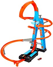 Hot Wheels Sky Crash Tower Track Set, 2.5+ ft / 83 cm High with Motorized Booster, Orange Track & 1 Veh