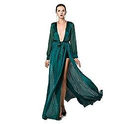 Deep V Long Sleeve Slim Split Dress