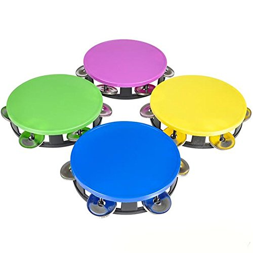 Kicko Set of 4 Plastic Neon Tambourine - 5.5