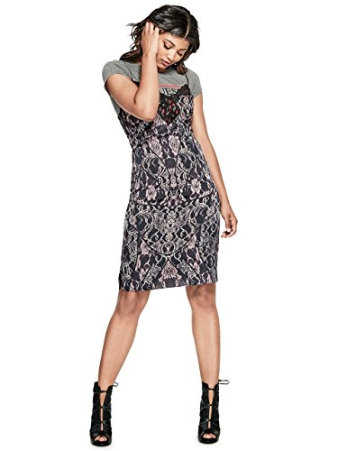 GUESS Women's Sleeveless Serena Lace Satin Slip Dress, Tempest Lace Navy, (Guess Slip)