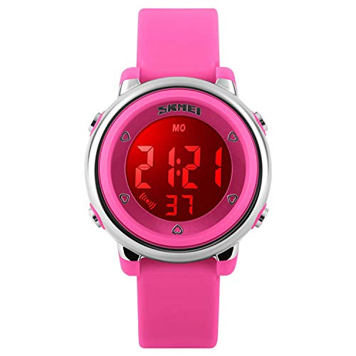 Linda Oil Lamp - Girls Digital Waterproof Watch, Kids Sport Outdoor Electrical Watches Colorful Luminescent Children Wristwatches with Alarm and Stopwatch - Pink
