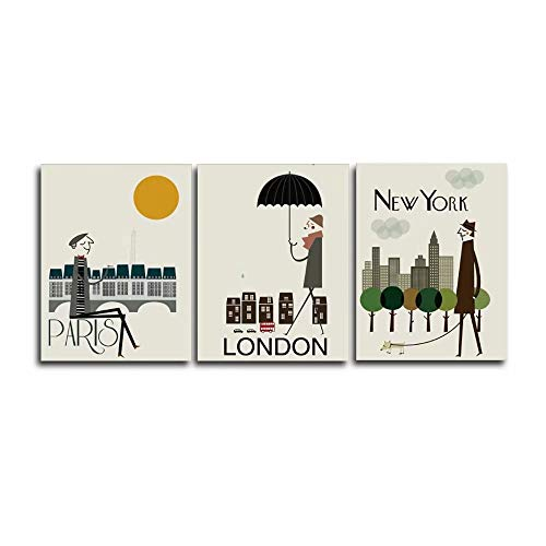 Canessioa Wall Art Canvas Abstract People Walk on Paris London New York Oil Painting Artwork Home Decor Wall Decorations for Bedroom Bathroom Living Room Dining Room Corridor(Unframed 3 Panels)