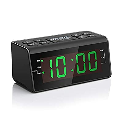 """Digital Alarm Clock Radio with AM/FM Radio, 1.2"""" Big Digits Display, Sleep Timer, Dimmer and Battery Backup, Bedside Alarm Clocks with Easy Snooze for Bedrooms, Table, Desk - Outlet Powered"""