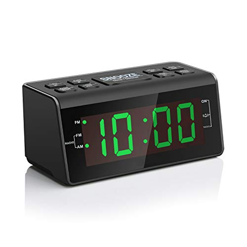 Digital Alarm Clock Radio with AM/FM Radio, 1.2 Big Green Digits Display, Sleep Timer, Dimmer and Battery Backup, Bedside Alarm Clocks with Easy Snooze for Bedrooms, Table, Desk - Outlet Powered