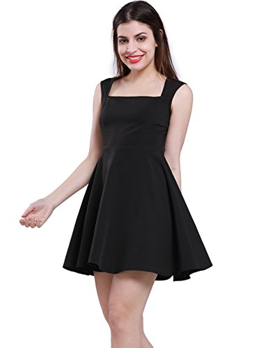 Fancyqube Women's Sleeveless Spaghetti Strap A-Line Short Mini Flare Skater Dress Black XL A-line Spaghetti Straps Mini