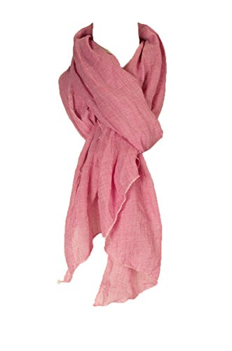 Cotton Solid Color wrinkle Linen Scarf, fashion scarf, multi color, beach scarf (rapture rose)]()
