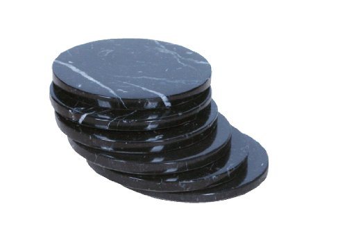 Set of 6 - Black Marble Stone Coasters – Polished Coasters – 3.5 Inches ( 9 cm) in Diameter – Protection from Drink Rings - Black Granite Coffee Table