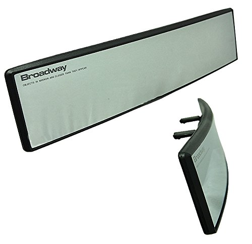 Broadway Size[300mm] Convex Surface Interior Rear view Clear Mirror Blind Spot Clip On [pack of 1]