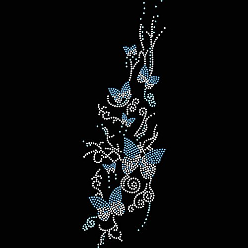 Twisted Envy Swarm Of Butterflies Rhinestone Diamante Crystal Iron On T Shirt Design (Swarovski Crystal Designs)