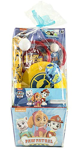 Blue Skies Plus Sports Toy Gift Set, Plastic Baseball Bat, Ball, Flying Disk Ping Pong Type Paddles a Plastic Ball - No Candy Included