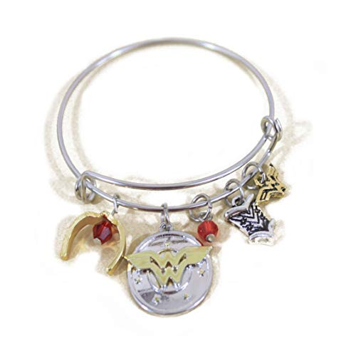Wonder Woman Message Expandable Silver Bangle Charm Bracelet Bangle I Do Freely and with Clear Conscience Hand Stamped Letter Bangle with Armor Tiara Crystals]()