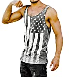 Men Vest Fitness Muscle Print Sleeveless Bodybuilding Muscle T-Shirts Tight-Drying Tank Tops (M, Gray)