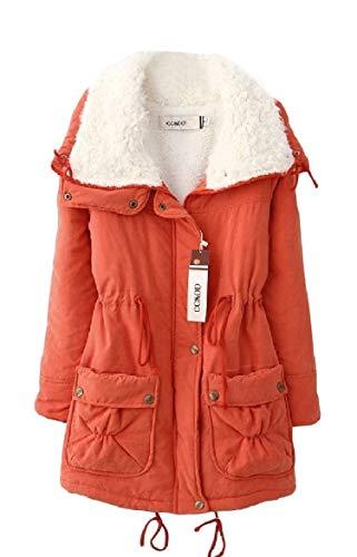 Medio Inverno Intascato Arancione Vita Giacca Risvolto donne Spesso Howme lungo Elastico Velluto Xf41qTw8