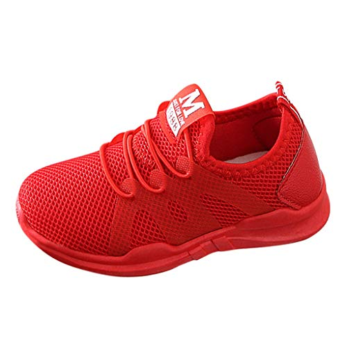 (CCFAMILY Children Infant Kids Baby Girls Boys Letter Mesh Sport Run Sneakers Casual Shoes Red)