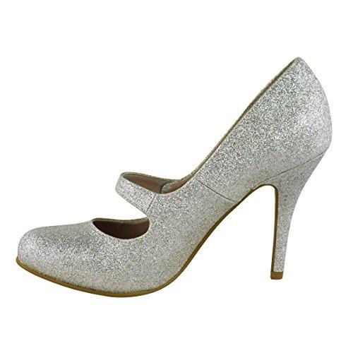 Bride Argenté Cheville Paillettes De Chaussures Escarpin Sandales Bas Taille A Talon Femmes Haut Travail wEnxpPqffA