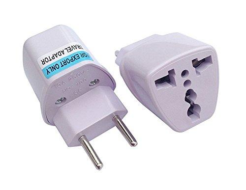 Worldwide travel electric adapter plug,Universal Travel AC Power Plug Charger Adapter Converter Travel Adaptors Charger Converter (Brazil style (two feet), black) - 2' Galvanized Plug