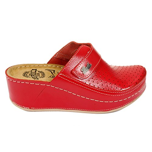 Dr Rouge en Femme Cuir Mules Rosso BRIL D130 Chaussures Dames Sabots Punto Chaussons qrOq1Rg
