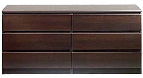 Amazon.com: Modern Danish 6-drawer Long Dresser Brown Espresso ...
