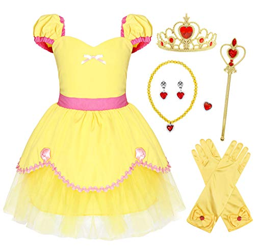 AmzBarley Girls Belle Costume Dress Princess Birthday Party Outfit Holiday Cosplay Halloween Role Play Fancy Ball Pageant Wedding Dresses with Accessories Size 5-6 -
