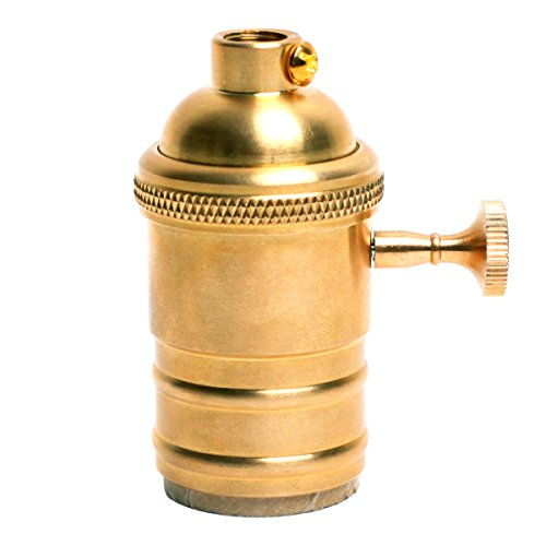 Homestia Solid Brass Gold Light Socket Vintage Industrial Lamps Medium Base Polished 3-Way Removable Turn Knob