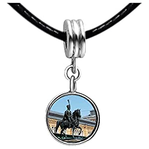 Chicforest Silver Plated The statue of King Ernst August Photo Emerald Green Crystal May Birthstone Flower dangle Charm Beads Fits Pandora Charm