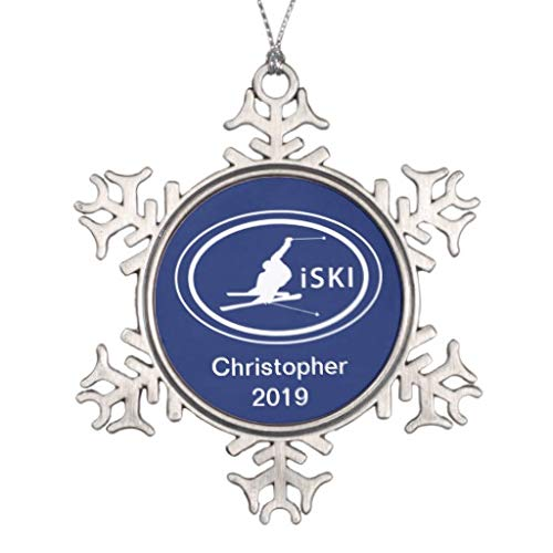 Pattebom Personalized Skiing iSKI Oval Mountain Pewter Snowflake Christmas Ornaments Christmas Tree Hanging Pendant Decoration Novelty Xmas Gifts