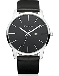 Big Face Men's Thin Quartz Analog Date Wrist Watch with...