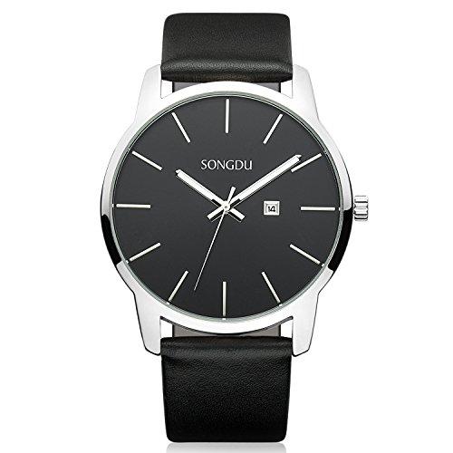 Big Date Mens Wrist Watch - SONGDU Big Face Men's Thin Quartz Analog Date Wrist Watch with Black Leather Strap (Black)