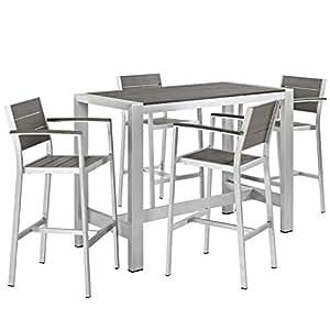 Modern Contemporary Urban al aire libre Patio cinco PCS Juego de sillas de comedor y mesa, color gris gris, aluminio