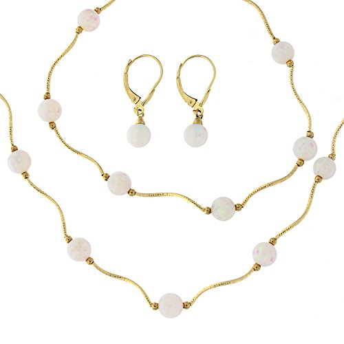 14k Yellow Gold White Simulated Opal Diamond Cut Tin Cup Station Necklace, Bracelet and Earrings Set by Beauniq