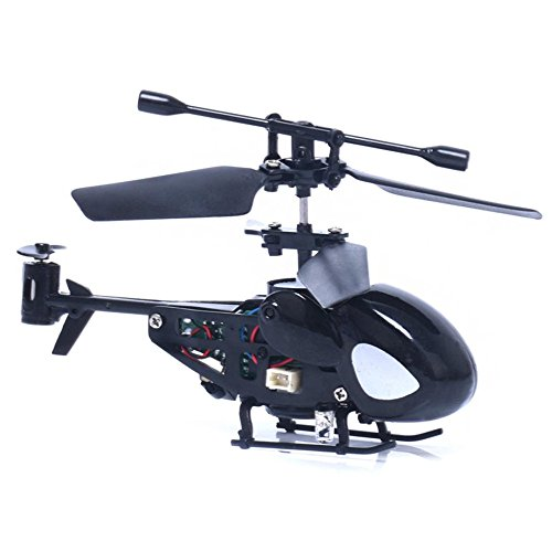 Waymine Mini Rc Helicopter Radio Remote Control Aircraft Toy Gift Micro 3.5 Channel (Black)