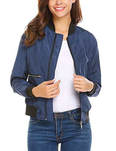 Blue Sleeve Lightweight 4 Neck Meaneor Bomber Casual Style Navy O Womens Long Jacket XqqZ7Fw
