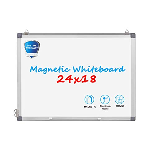 (Magnetic Dry Erase Board - WEYOUNG 24 x 18 Inch Wall Hanging White Board with 6 Magnets, 3 Markers,1 Magnetic Dry Eraser for School, Home, Office)