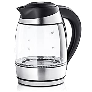 Chef's Star Borosilicate Glass Electric Kettle, 1.7 Liter (Black & Stainless Steel) Temperature Electric Tea Kettle