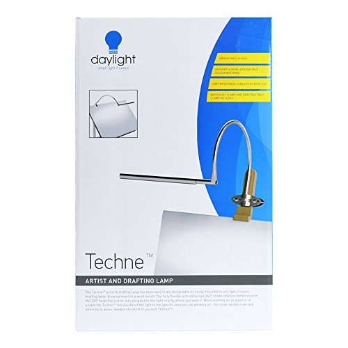 Daylight Techne LED Artist & Drafting Lamp, 12X20X7, Brushed Steel