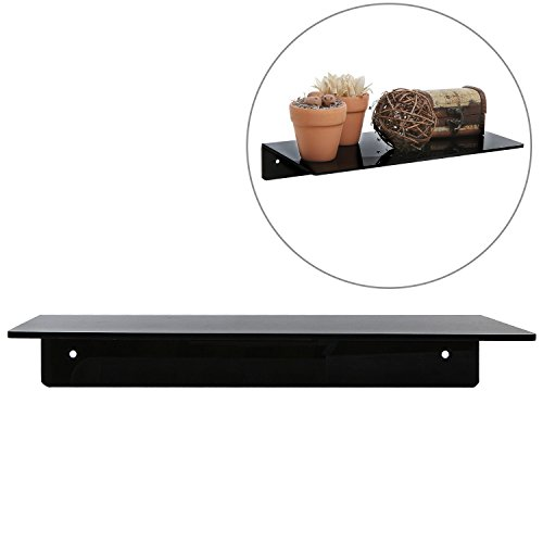 12 Inch Wall Mounted Black Acrylic Floating Shelf / Decorative Display Organizer Rack (Small Shelf Wall Black)