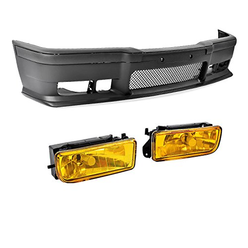 Compatible with M3 Style Front Bumper Cover Lip Crystal Yellow Fog Lights BMW 3-Series 92-98 E36 - Bmw E36 325is Coupe