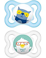 MAM Mini Air Pacifiers for Babies with Sensitive Skin (pack of 2), MAM Soother with a Soft Silicone Nipple, 0-6 Months, Best Pacifier for Breastfed Babies, Baby Boy