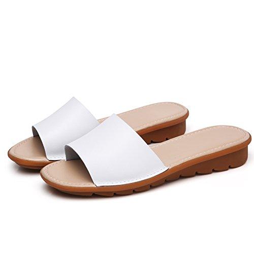 Ajunr Moda/elegante/Transpirable/Sandalias Zapatillas 3cm pendiente del talón Skidproof Remolcar Fondo plano Simple Las zapatillas de playa Blanco ,38 36